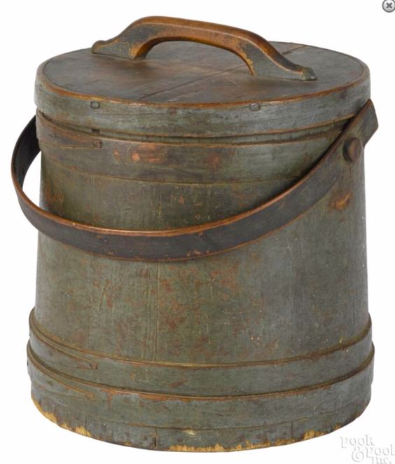 Pook & Pook 1/15/16 Lot: 32.  Estimated: $400 - $800.  Realized Price: $1,845.  Description: Painted pine firkin, 19th c., retaining its original blue/green surface, 12 1/4'' h. Provenance: The Estate of Bernard B. Hillmann, Wyckoff, New Jersey.  Condition: Nice old worn surface. Overall good condition.