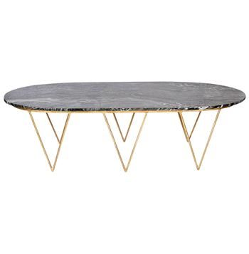 Elaine Hollywood Regency Gold Black Marble Coffee Table. #kathykuohome