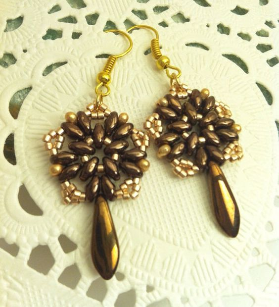 Chocolate Bronze and Golden Seed Beads