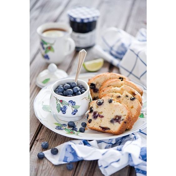 Tea in the cottage.Blueberry breakfast ❤ liked on Polyvore featuring home and kitchen & dining