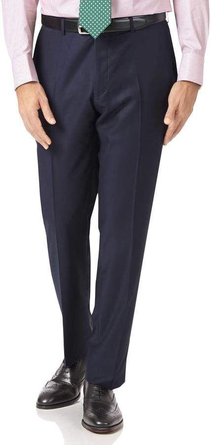 Navy Slim Fit Luxury Italian Suit Wool Pants Size W32 L38 by Charles Tyrwhitt