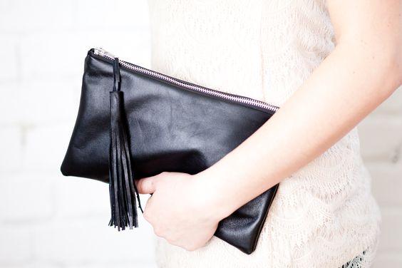 Lambskin Leather Tassel Clutch in Black