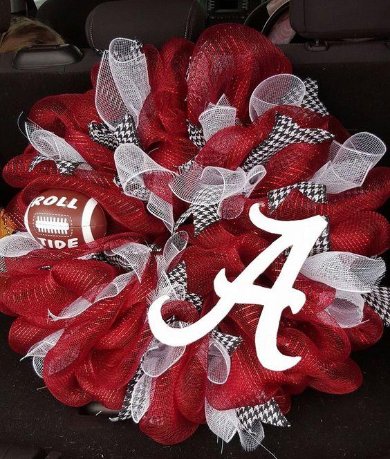 Deco Mesh College Football Wreath  Alabama by Lovingwreathcreation on Etsy
