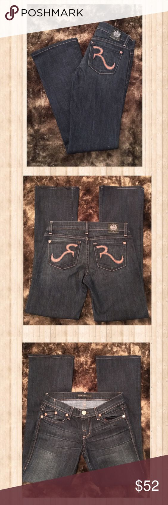 """Rock and Republic Dark Wash Bootcut Jeans Almost brand new, worn twice Rock and Republic bootcut jeans.  Has gorgeous Coral stitching on pockets with rose gold hardware on front and back pockets.  Are in excellent condition, size 26, 30"""" inseam.  These are gorgeous on!  Please let me know if you have any questions!  ( I do think that these do run small for a size 26 in my opinion, I can provide measurements upon request) Rock & Republic Jeans Boot Cut"""