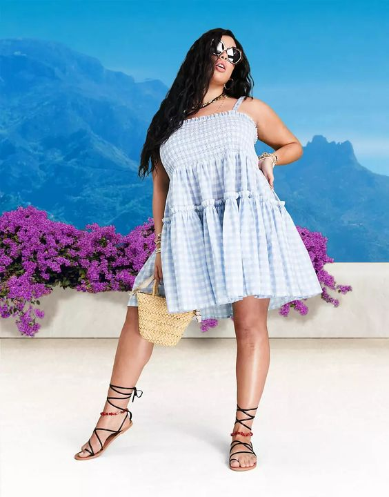 ASOS DESIGN Curve cami mini sundress dress with raw edges in blue gingham