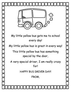 Bus Driver Day Thank you poem and Card. Pre made, just ...