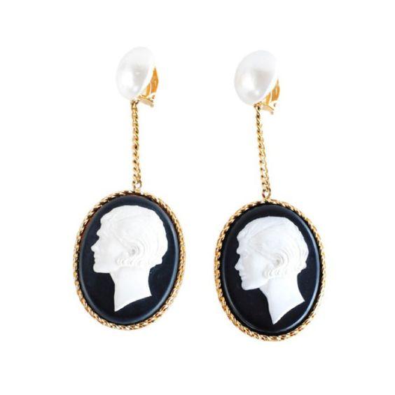 Chanel Cameo Dangle Earrings.  France  1990's