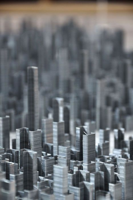 Peter Root - Ephemicropolis  cityscape made of staples