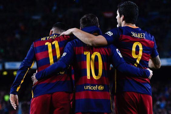 Neymar, Messi y Luis Suárez el domingo en el Camp Nou.
