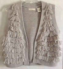 Anthropologie Sleeping On Snow Knitted Open Cardigan Sweater Vest Fringe Gray M
