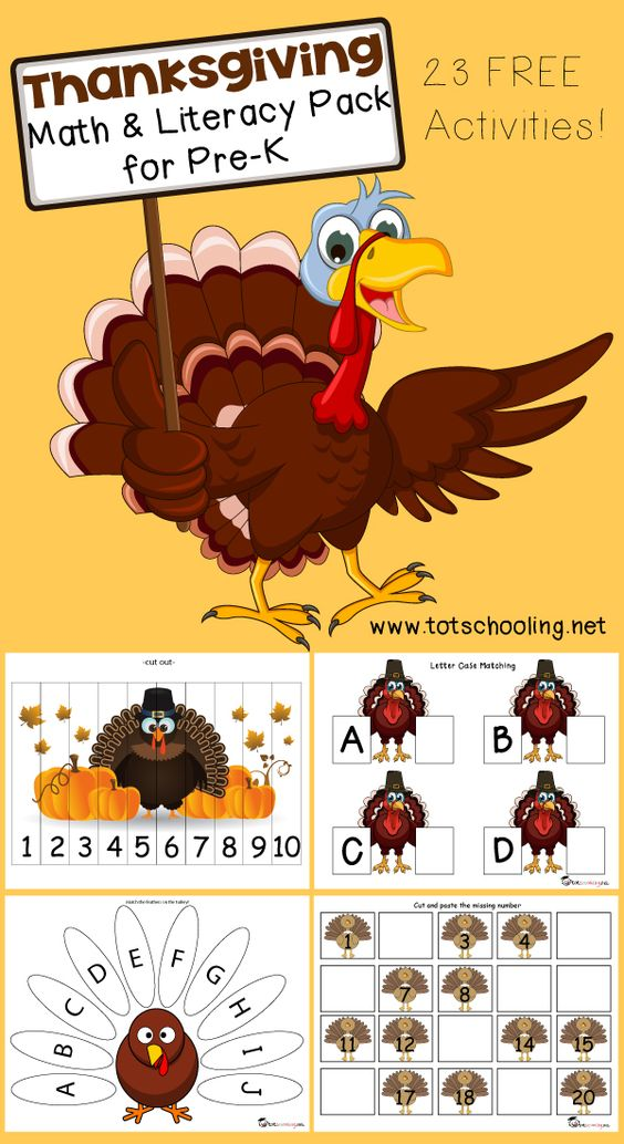 Free Thanksgiving Math & Literacy Pack for PreK