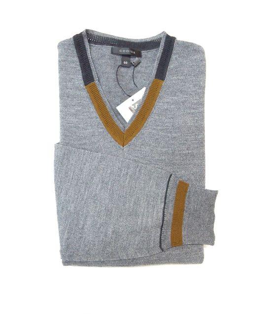 Codice Light Grey Merino Wool Blend V-Neck Sweater