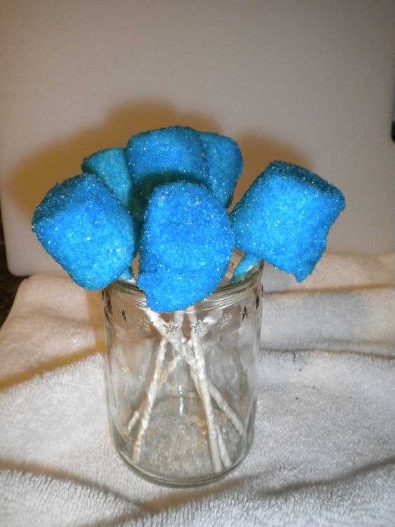 Chocolate Covered Marshmallows with Blue Sugar Crystals.