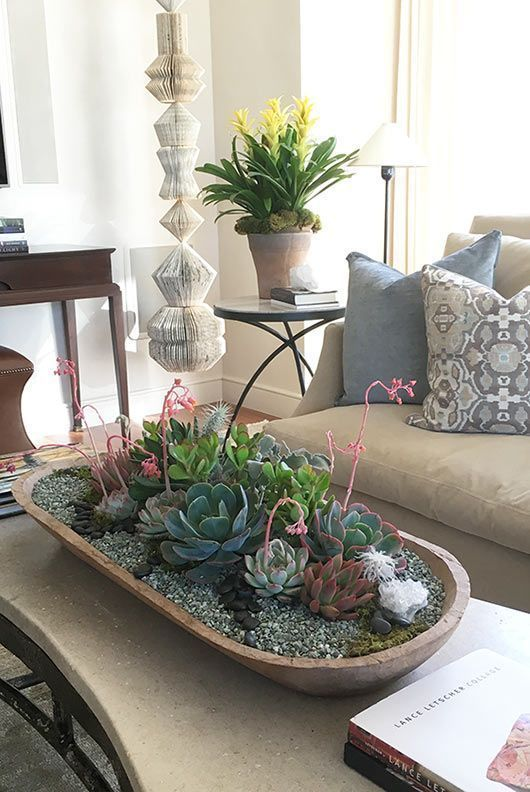 Creative indoor plant and succulent ideas | Blooming succulent centerpiece #flores #diy