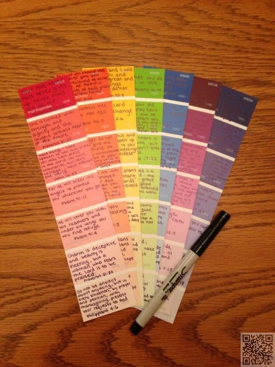 Write favorite quotes on paint swatches. Cut apart and add to photo albums or scrapbooks