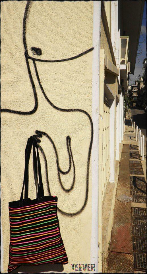 Black Tote Bag Design : Neon Stripes