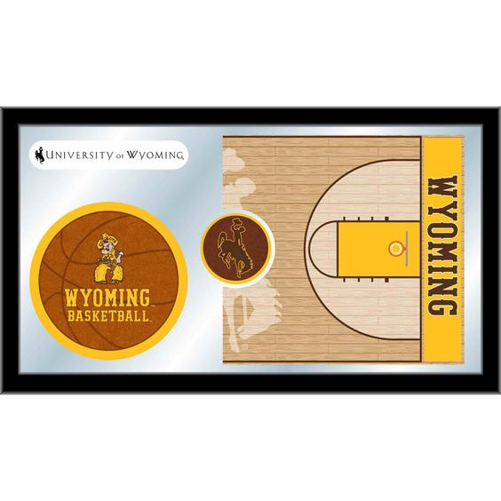 Wyoming Cowboys Basketball Court Mirror Wall Art