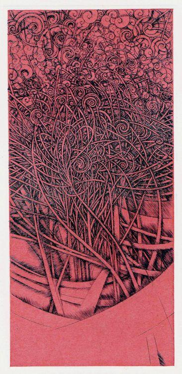 Shinatobe # 218 * Shinatobe es un viento dioses en la religión japonesa y el mito.  Tamaño: 19.7x9.2cm Técnica: impresión de cobre con chine collé (grabado) ED30 HAYASHI Takahiko 林孝彦 2016