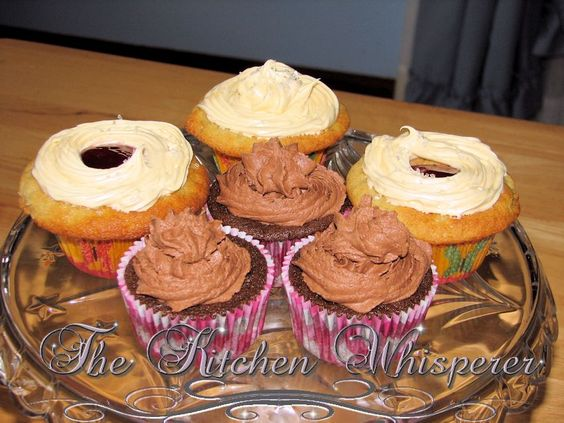 The Kitchen Whisperer Dark chocolate cream cupcake with a dark chocolate espresso buttercream