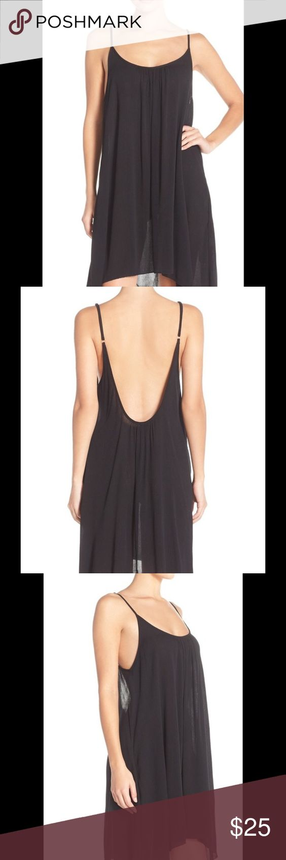 """Black cover up slip dress nordstroms New without tags An airy, lightweight slipdress designed with adjustable spaghetti straps and a low scooped back makes the perfect swimsuit cover-up when headed to and from the pool. 24""""center front length (size Small) Sheer; base layer recommended. Scooped neck. Adjustable spaghetti straps. Unlined. 100% rayon. Hand wash cold, line dry. By Elan; made in the USA. Elan Dresses"""
