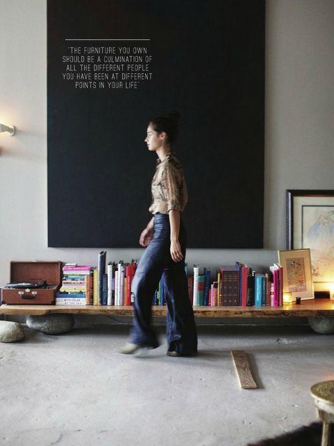Manhattan loft of Andi Potankim (love the bench with stones!): Book Shelf, Bookshelves, Black Canvas, Living Room, Book Shelves, Low Shelf, Rue Magazine, Low Shelves