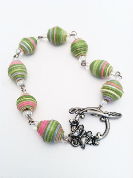 Chunky Paper Bead Bracelet - made from an Upcycled Cardboard Box Pink and Green