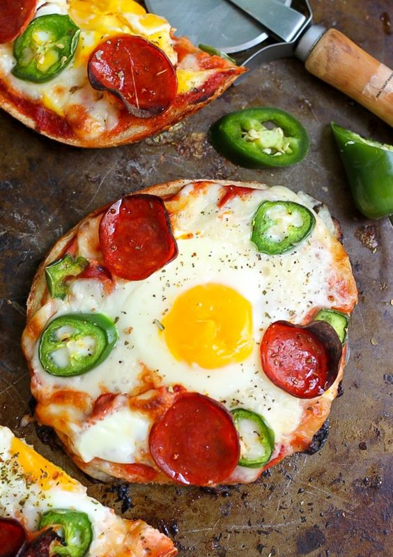 Breakfast Pizza Bagels - Ready FAST and so much better than a bowl of cereal! Can do in microwave!