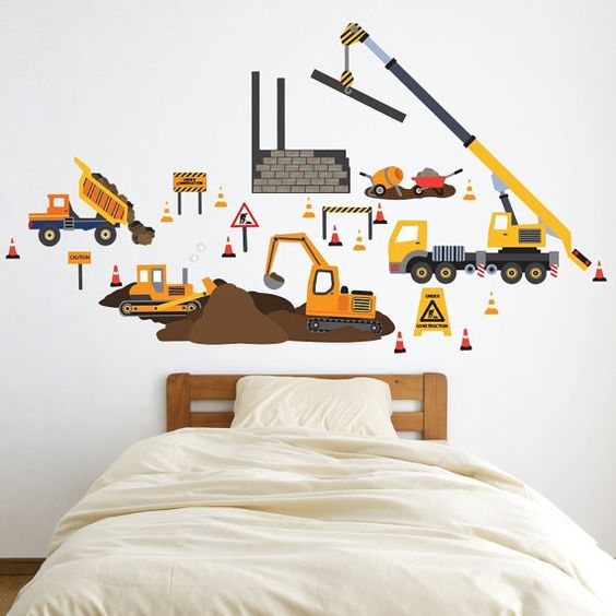 Construction site wall decals trucks vehicles removable for Construction site wall mural