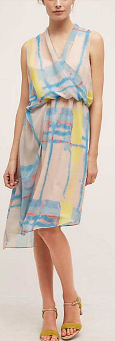 Peach Blue and Yellow Surplice Dress