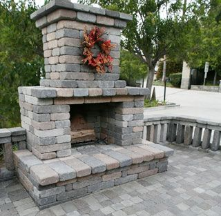 Semplice Outdoor Fireplace Kits Installed Outdoors
