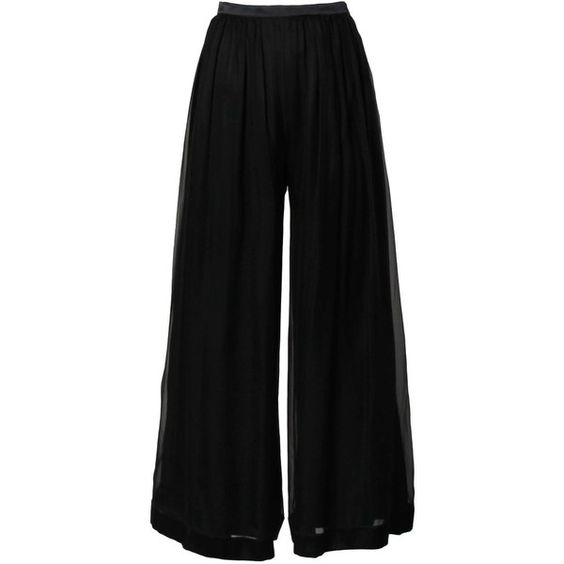 Pre-owned Valentino Vintage Black Silk Chiffon Wide Leg Palazzo Pants (£280) ❤ liked on Polyvore featuring pants, wide leg pants, wide leg trousers, zipper pants, sheer palazzo pants, palazzo pants ve black wide leg trousers