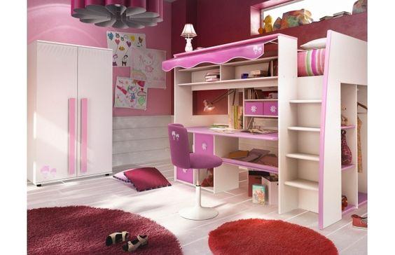Lit mezzanine enfant rose et blanc MARCHANDE - Miliboo