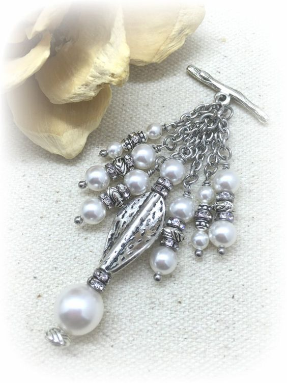 White Swarovski Pearl Beaded Pendant Necklace. Unique Interchangeable Design. Attach to available Stainless Steel or Leather Chains.