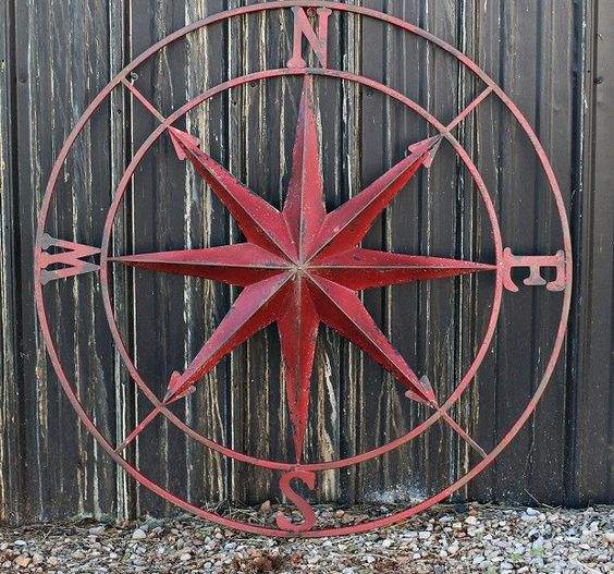 Vintage Compass Wall Decor : Sheds antiques and red kitchen walls on