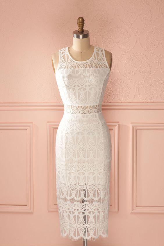 Un parangon de beauté, c'est ce que vous êtes !  A parangon of beauty, that's what you are! White lace cut-outs fitted midi dress www.1861.ca