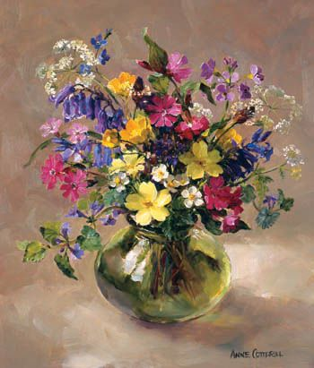 Spring flowers..Painting by Anne Cotterill: