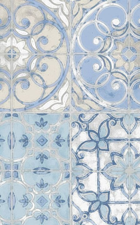 Design detail in blue and white