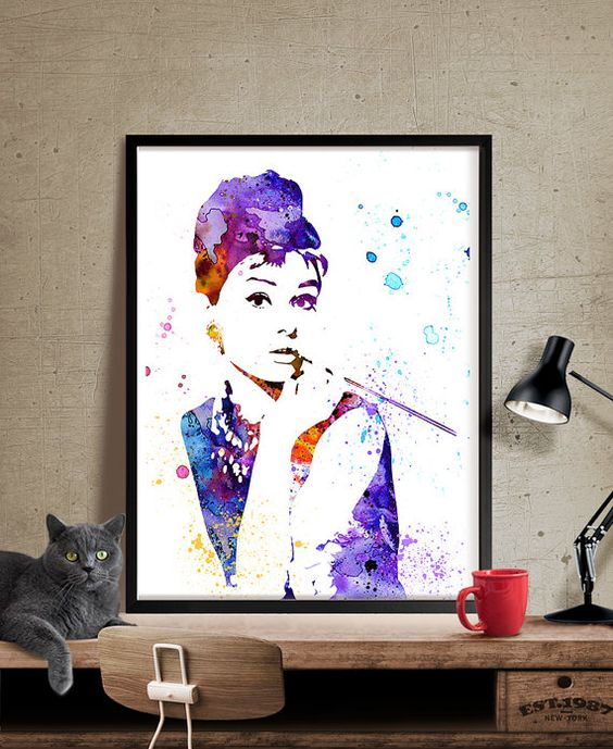 Audrey Hepburn Poster Watercolor Art Audrey by FineArtCenter
