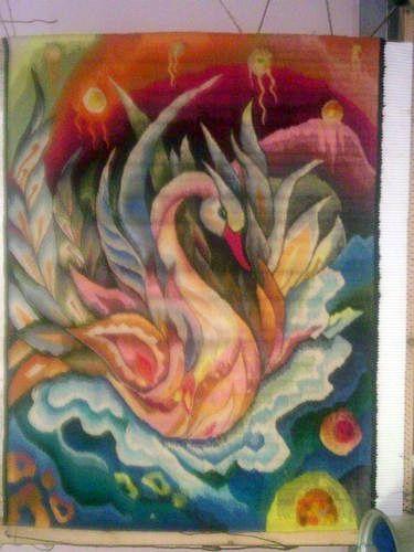 Maria Merabyan Swan - tapestry. El Cisne - tapiz