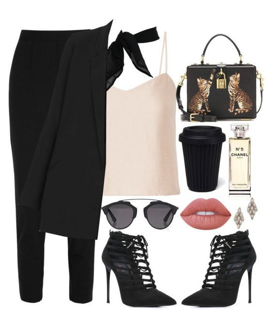 """""""🕶"""" by burcaak ❤ liked on Polyvore featuring Dolce&Gabbana, Barbara Casasola, TC Fine Intimates, Topshop, Le Silla, Christian Dior, Chanel, Lime Crime, Elizabeth Cole and jobinterview"""