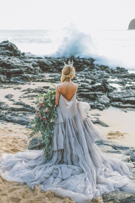 Ombre blue wedding dresss