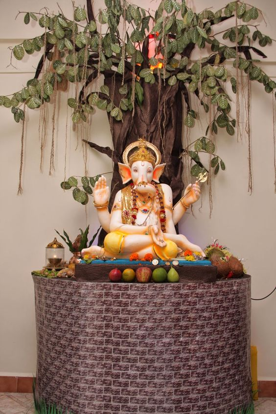 Eco friendly ganesh and decoration on pinterest for Decorations for ganesh chaturthi at home