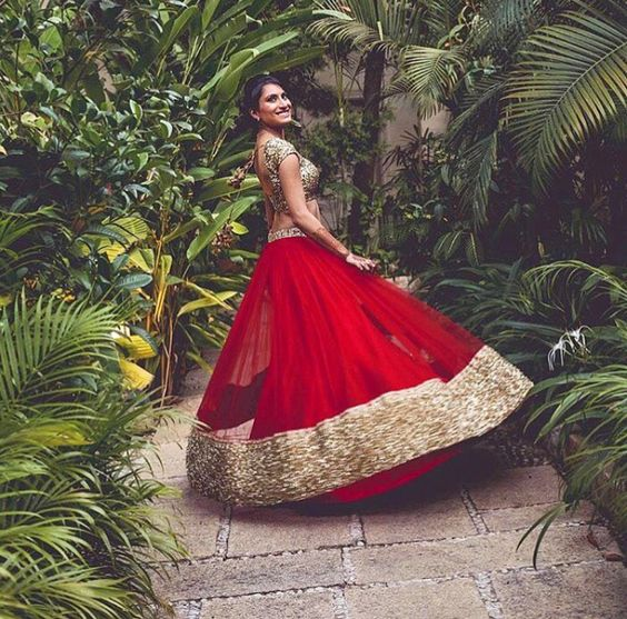 Red lehenga a color the brides love..Sabyasachi red lehenga for summer 2016