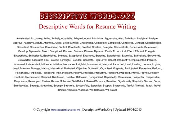 descriptive words  list of adjectives and resume on pinterest