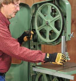 How to set your band saw blade tension, blade tracking, and guide blocks.