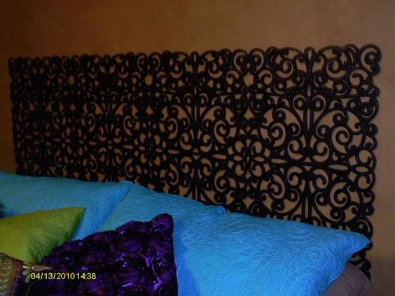 Rubber Mat Headboard, cute and inexpensive! Could spray paint any colour