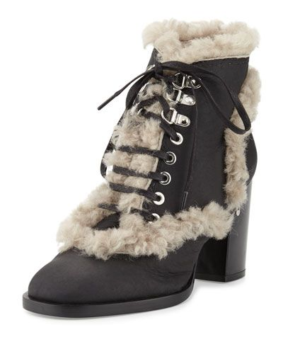 LAURENCE DACADE Manushka Shearling Fur Ankle Boot, Black/Gray. #laurencedacade #shoes #boots