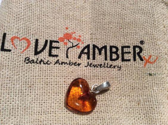 Love Amber x Heart Sterling Silver Pendant -Cognac Baltic Amber