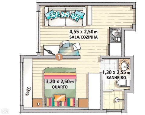 """Limites bem definidos: originalmente, o estar e o quarto eram totalmente integrados, compondo uma área única. Para estabelecer privacidade na área de dormir, a arquiteta propôs a criação de uma parede de drywall (1) dividindo os dois ambientes. """"Acho fundamental essa separação, pois, assim, posso receber os amigos sem ter a impressão de que estão batendo papo dentro do meu quarto"""", diz a moradora. Projeto de Andrea Del Monaco."""