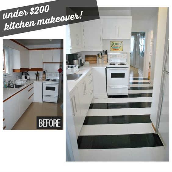19 Budget Friendly Kitchen Makeover Ideas: Vinyls, For Less And White Flooring On Pinterest